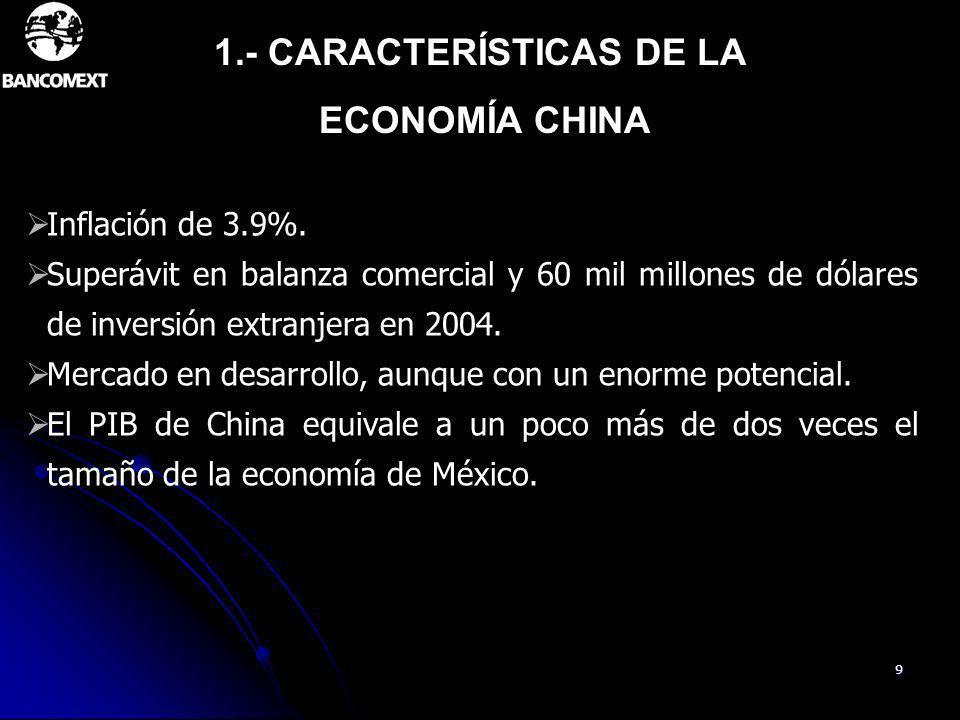 9 Inflación de 3.9%. Superávit en balanza comercial y 60 mil millones de dólares de inversión extranjera en 2004. Mercado en desarrollo, aunque con un