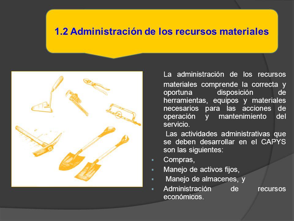 La administración de los recursos materiales comprende la correcta y oportuna disposición de herramientas, equipos y materiales necesarios para las ac