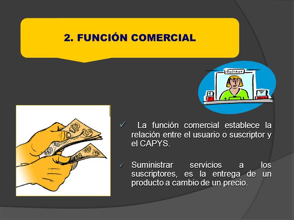 La función comercial establece la relación entre el usuario o suscriptor y el CAPYS. La función comercial establece la relación entre el usuario o sus