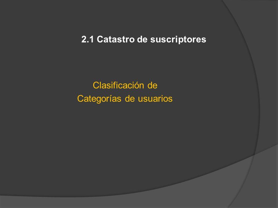2.1 Catastro de suscriptores Clasificación de Categorías de usuarios