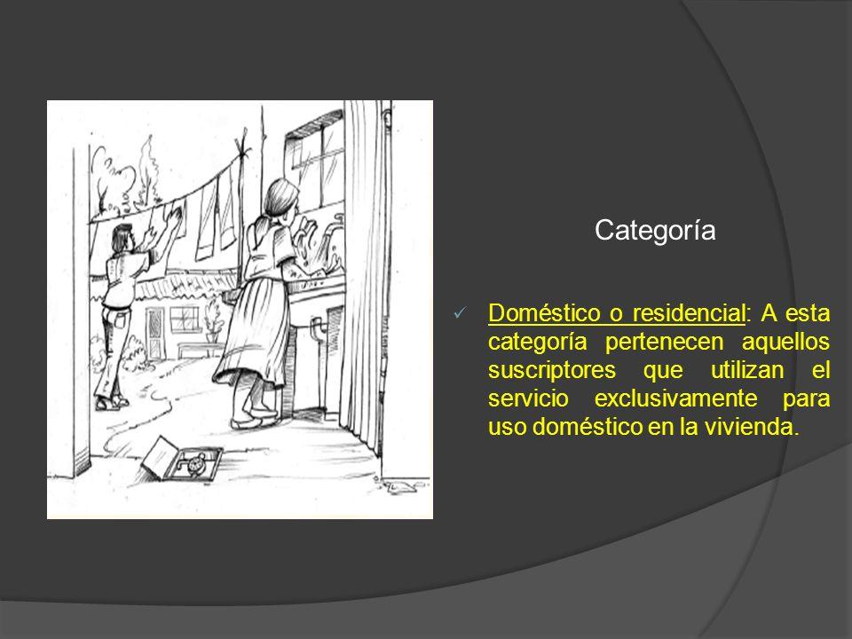 Categoría Doméstico o residencial: A esta categoría pertenecen aquellos suscriptores que utilizan el servicio exclusivamente para uso doméstico en la