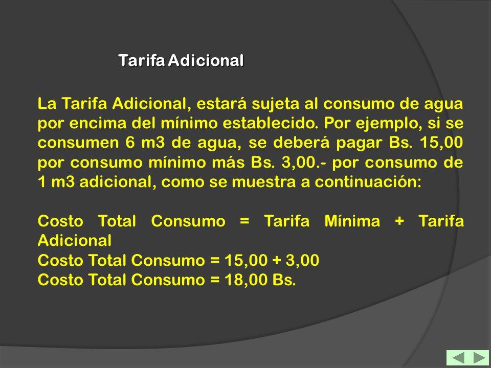 Tarifa Adicional La Tarifa Adicional, estará sujeta al consumo de agua por encima del mínimo establecido. Por ejemplo, si se consumen 6 m3 de agua, se