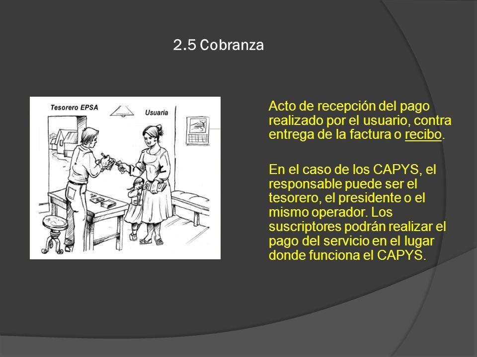2.5 Cobranza Acto de recepción del pago realizado por el usuario, contra entrega de la factura o recibo. En el caso de los CAPYS, el responsable puede