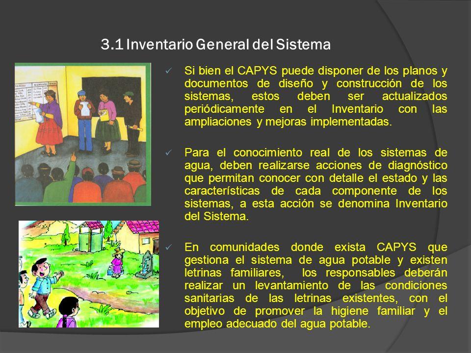 3.1 Inventario General del Sistema Si bien el CAPYS puede disponer de los planos y documentos de diseño y construcción de los sistemas, estos deben se
