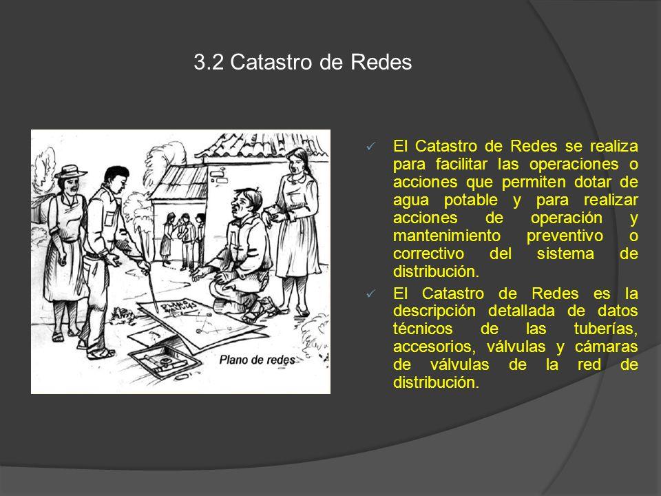 3.2 Catastro de Redes El Catastro de Redes se realiza para facilitar las operaciones o acciones que permiten dotar de agua potable y para realizar acc