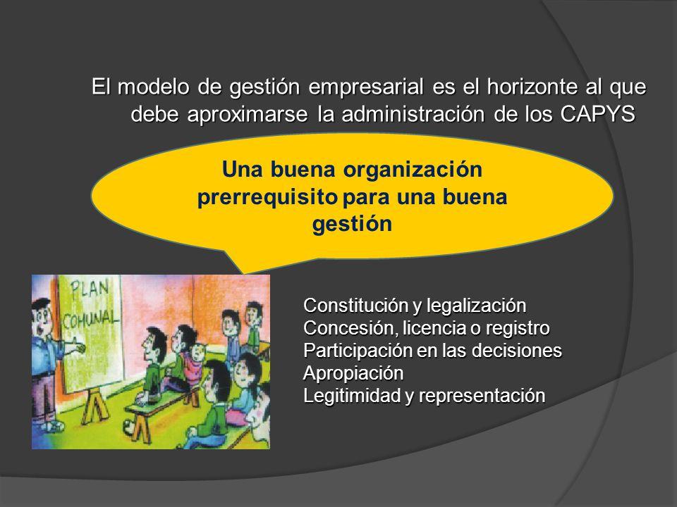 El modelo de gestión empresarial es el horizonte al que debe aproximarse la administración de los CAPYS Constitución y legalización Concesión, licenci