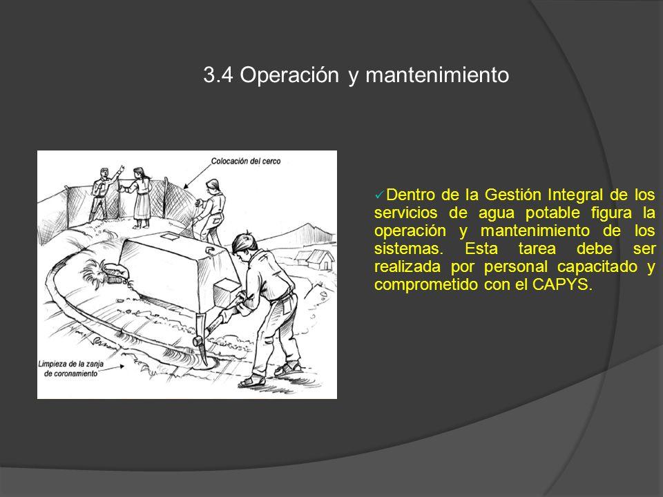 3.4 Operación y mantenimiento Dentro de la Gestión Integral de los servicios de agua potable figura la operación y mantenimiento de los sistemas. Esta