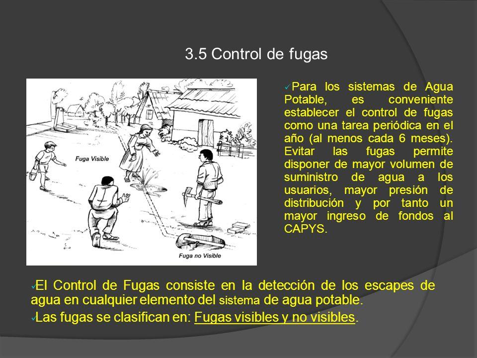 3.5 Control de fugas Para los sistemas de Agua Potable, es conveniente establecer el control de fugas como una tarea periódica en el año (al menos cad