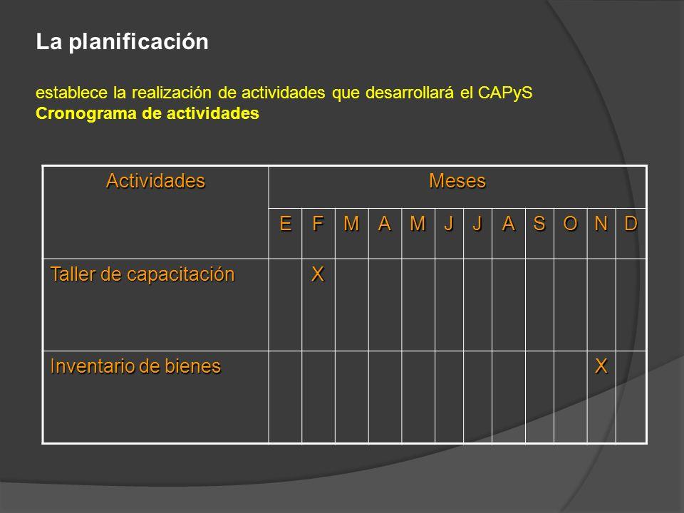 La planificación establece la realización de actividades que desarrollará el CAPyS Cronograma de actividades ActividadesMeses EFMAMJJASOND Taller de c