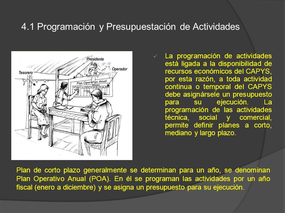 4.1 Programación y Presupuestación de Actividades La programación de actividades está ligada a la disponibilidad de recursos económicos del CAPYS, por