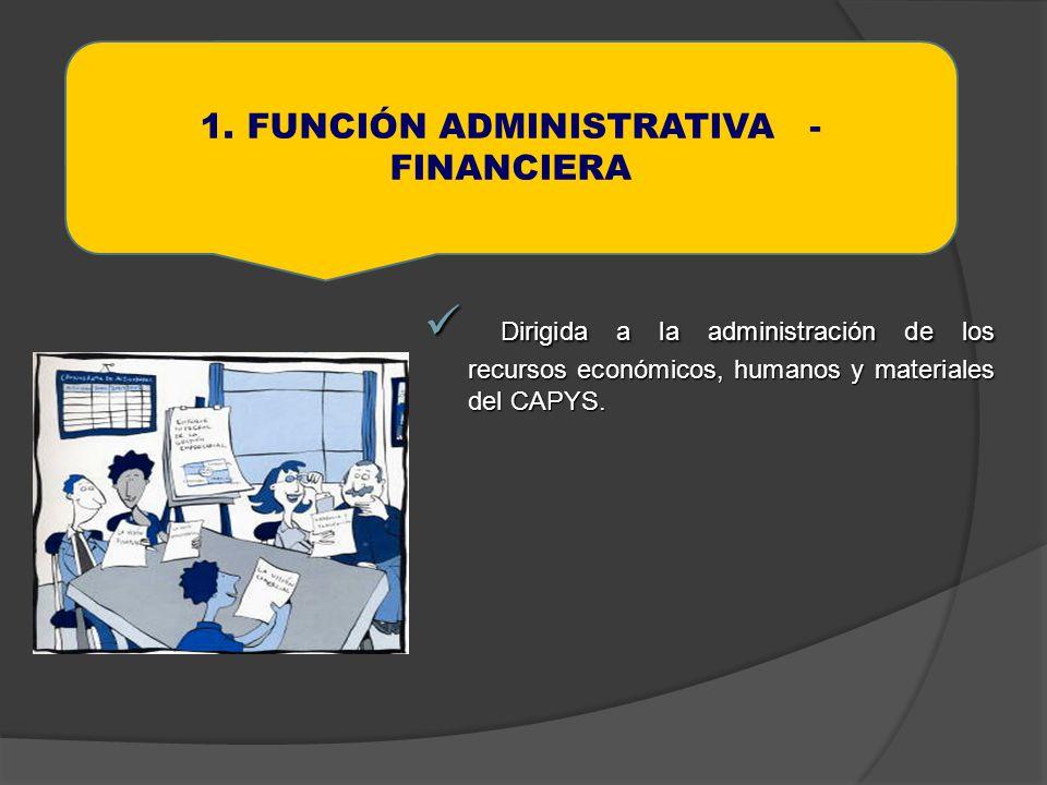 Dirigida a la administración de los recursos económicos, humanos y materiales del CAPYS. Dirigida a la administración de los recursos económicos, huma