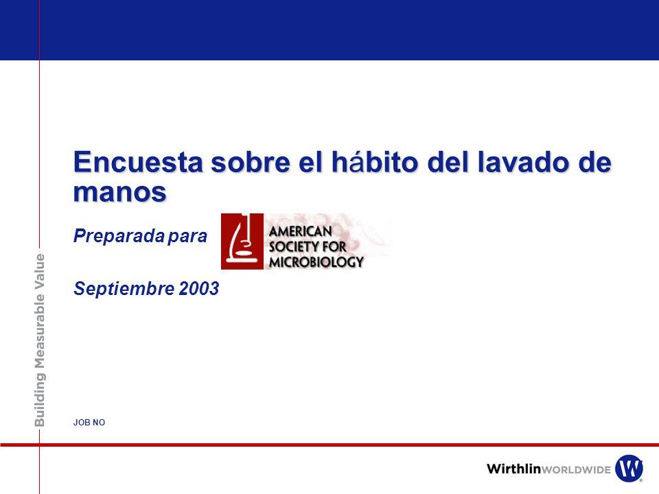 Encuesta sobre el hábito del lavado de manos Preparada para Septiembre 2003 JOB NO