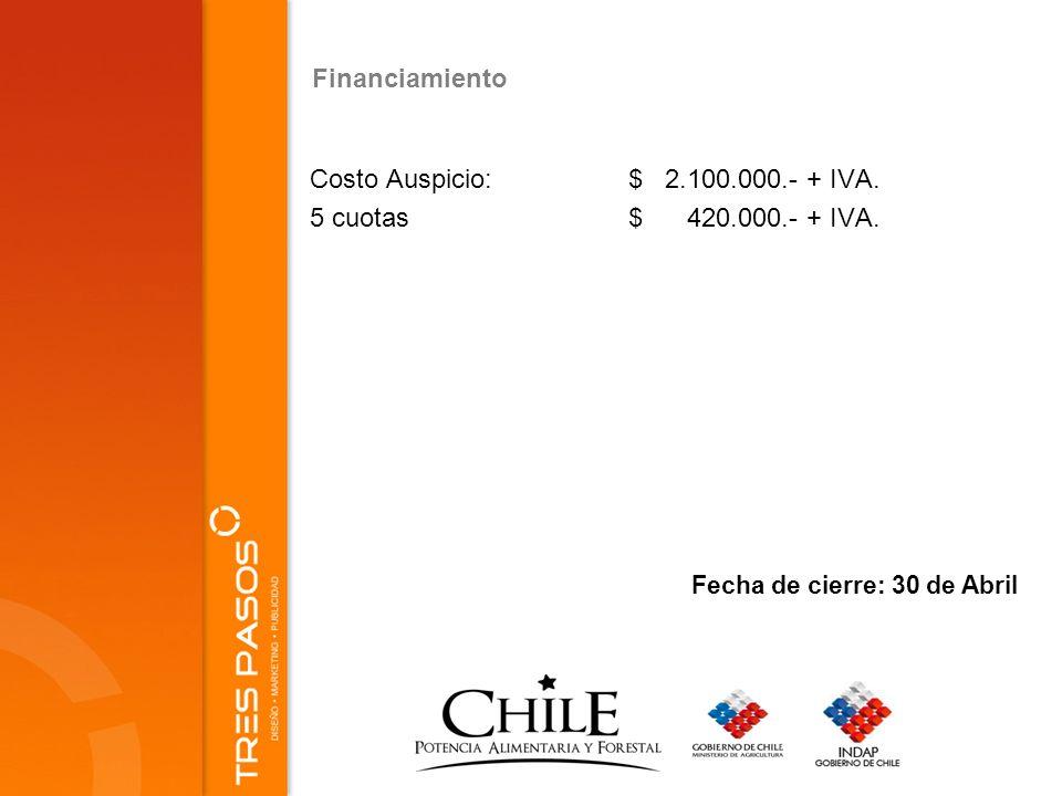Financiamiento Costo Auspicio:$ 2.100.000.- + IVA.