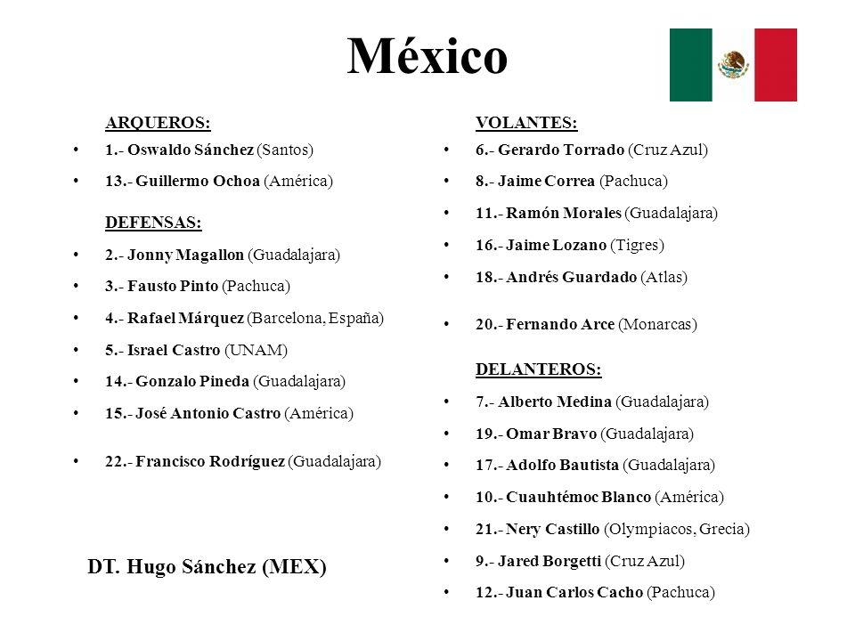 México ARQUEROS: 1.- Oswaldo Sánchez (Santos) 13.- Guillermo Ochoa (América) DEFENSAS: 2.- Jonny Magallon (Guadalajara) 3.- Fausto Pinto (Pachuca) 4.-