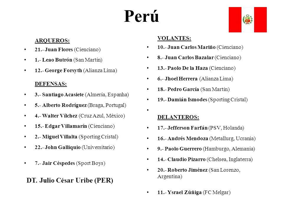 Perú ARQUEROS: 21.- Juan Flores (Cienciano) 1.- Leao Butrón (San Martín) 12.- George Forsyth (Alianza Lima) DEFENSAS: 3.- Santiago Acasiete (Almería,