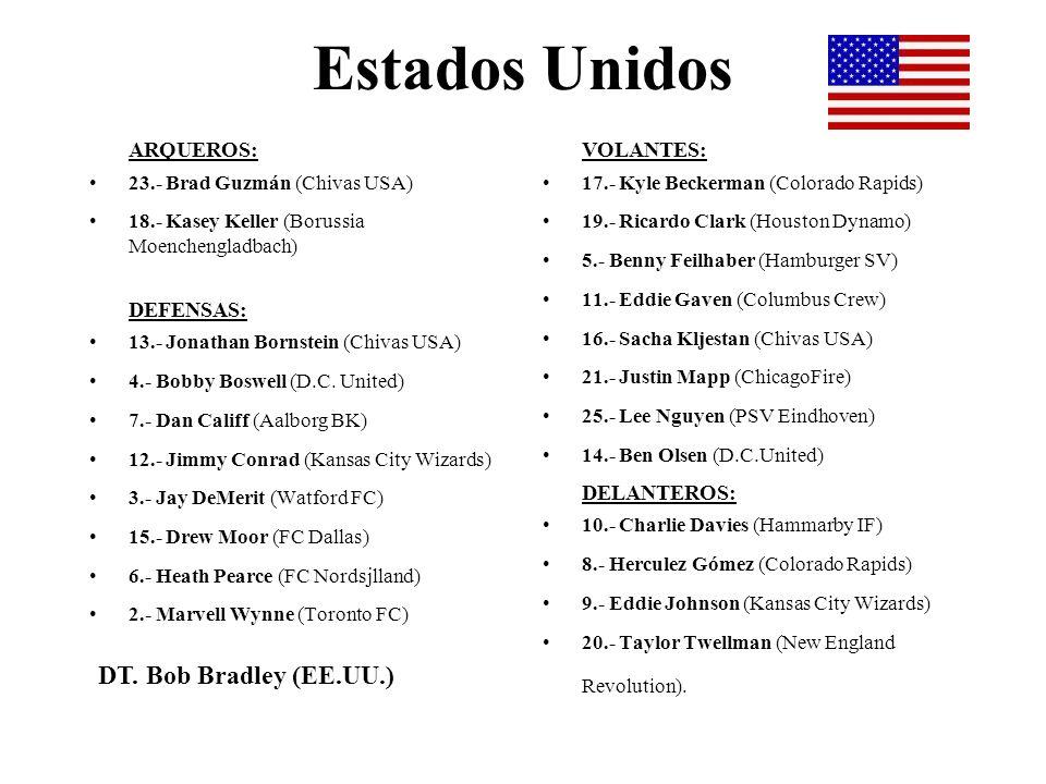 Estados Unidos ARQUEROS: 23.- Brad Guzmán (Chivas USA) 18.- Kasey Keller (Borussia Moenchengladbach) DEFENSAS: 13.- Jonathan Bornstein (Chivas USA) 4.