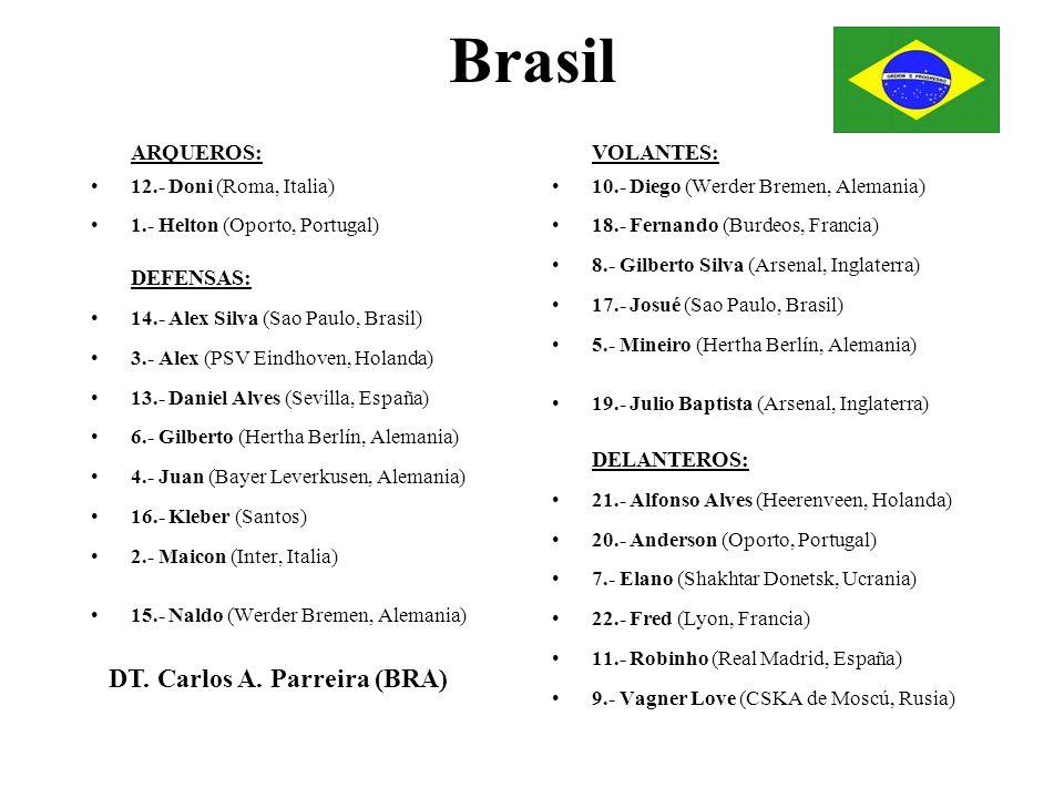 Brasil ARQUEROS: 12.- Doni (Roma, Italia) 1.- Helton (Oporto, Portugal) DEFENSAS: 14.- Alex Silva (Sao Paulo, Brasil) 3.- Alex (PSV Eindhoven, Holanda
