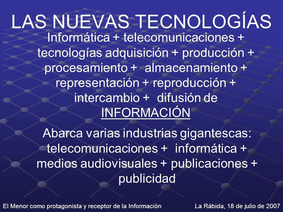 El Menor como protagonista y receptor de la Información La Rábida, 18 de julio de 2007 LAS NUEVAS TECNOLOGÍAS Informática + telecomunicaciones + tecno