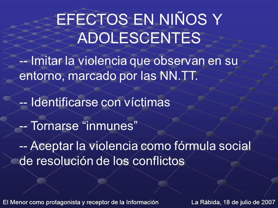 El Menor como protagonista y receptor de la Información La Rábida, 18 de julio de 2007 EFECTOS EN NIÑOS Y ADOLESCENTES -- Imitar la violencia que obse