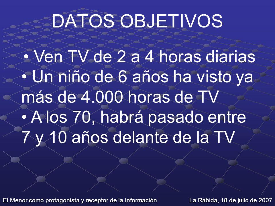 El Menor como protagonista y receptor de la Información La Rábida, 18 de julio de 2007 DATOS OBJETIVOS Ven TV de 2 a 4 horas diarias Un niño de 6 años