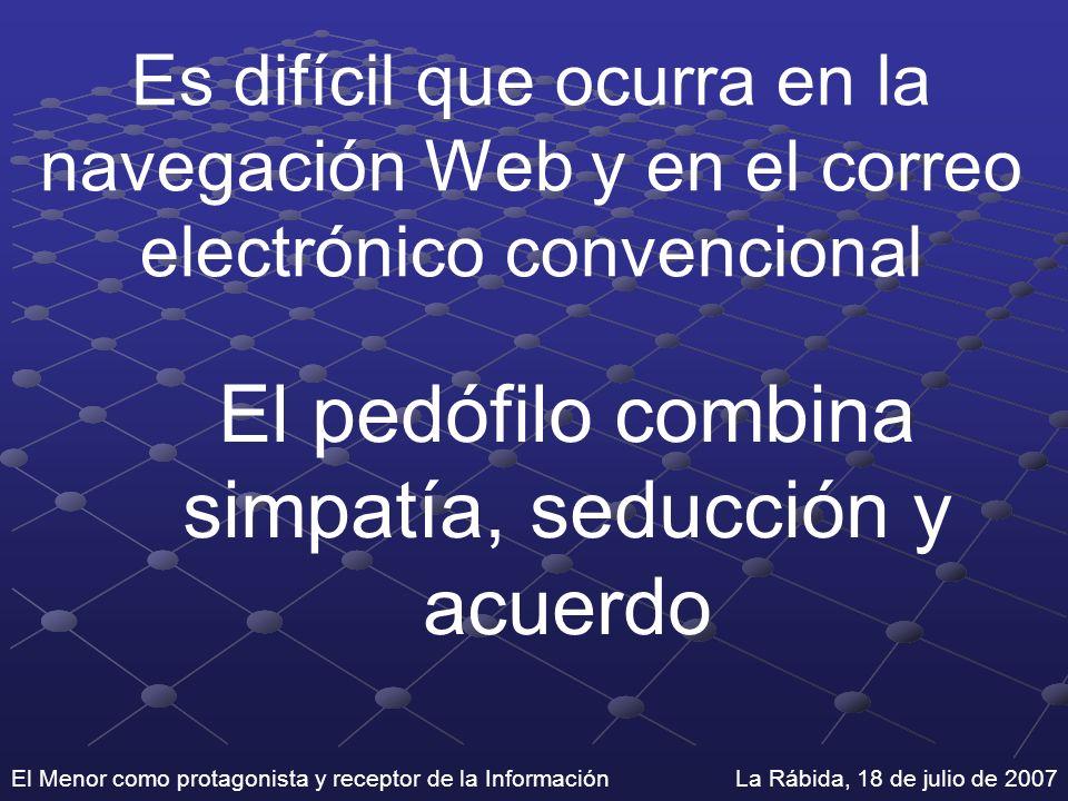 El Menor como protagonista y receptor de la Información La Rábida, 18 de julio de 2007 Es difícil que ocurra en la navegación Web y en el correo elect