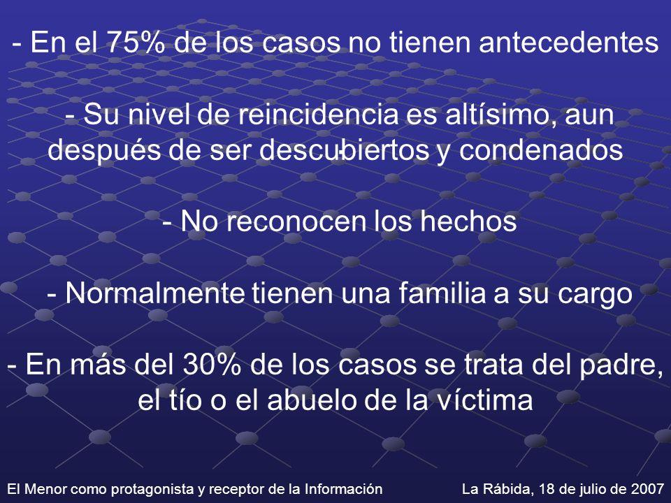 El Menor como protagonista y receptor de la Información La Rábida, 18 de julio de 2007 - En el 75% de los casos no tienen antecedentes - Su nivel de r