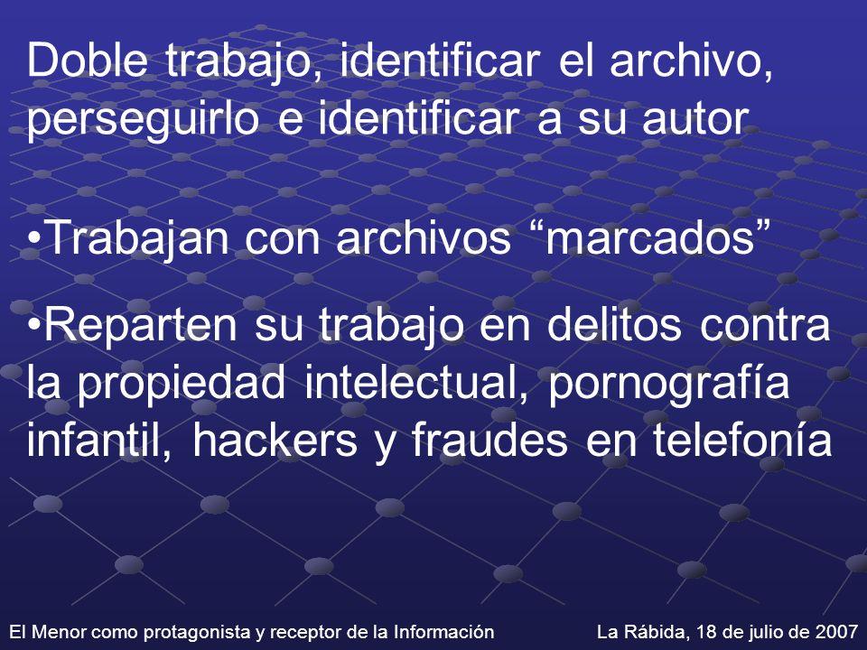 Doble trabajo, identificar el archivo, perseguirlo e identificar a su autor Trabajan con archivos marcados Reparten su trabajo en delitos contra la pr