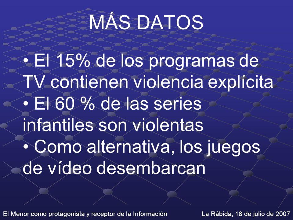 El Menor como protagonista y receptor de la Información La Rábida, 18 de julio de 2007 MÁS DATOS El 15% de los programas de TV contienen violencia exp