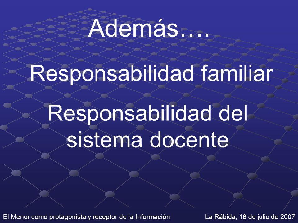 El Menor como protagonista y receptor de la Información La Rábida, 18 de julio de 2007 Además…. Responsabilidad familiar Responsabilidad del sistema d