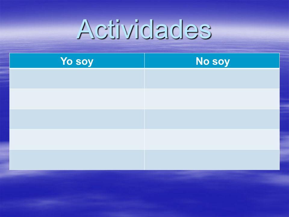 Actividades Yo soy No soy