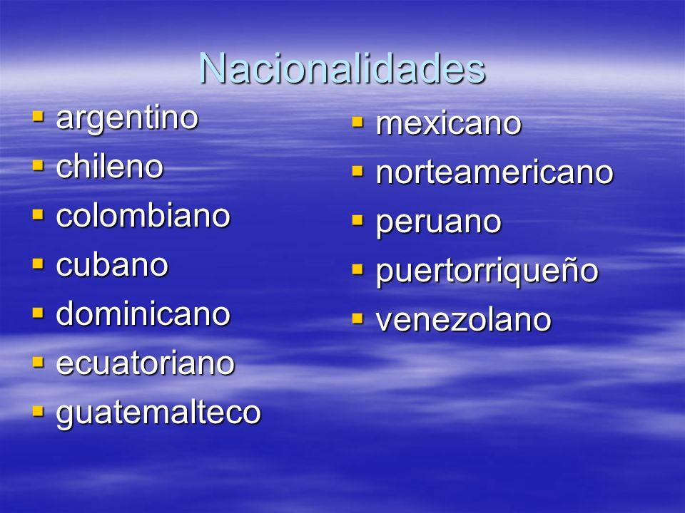 Nacionalidades argentino argentino chileno chileno colombiano colombiano cubano cubano dominicano dominicano ecuatoriano ecuatoriano guatemalteco guat