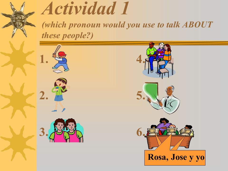Actividad 2 (which pronoun would you use to talk TO these people.