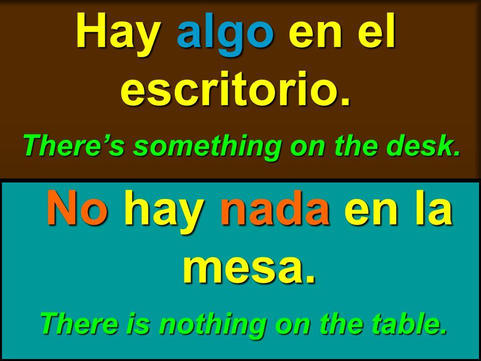 skb: 9/09 Hay algo en el escritorio. Theres something on the desk. No hay nada en la mesa. There is nothing on the table.