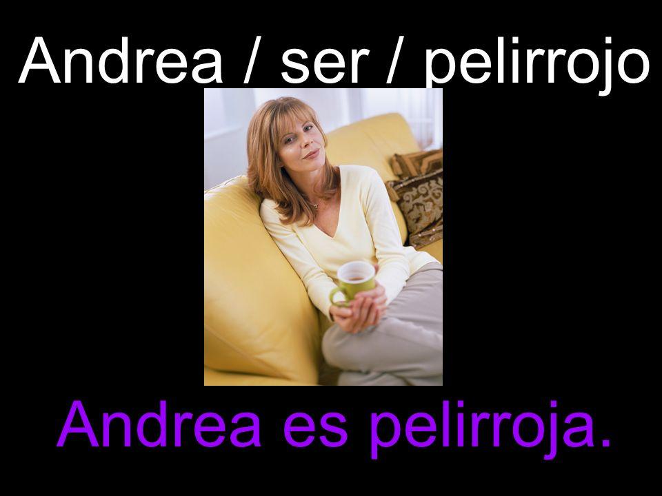 Andrea / ser / pelirrojo Andrea es pelirroja.