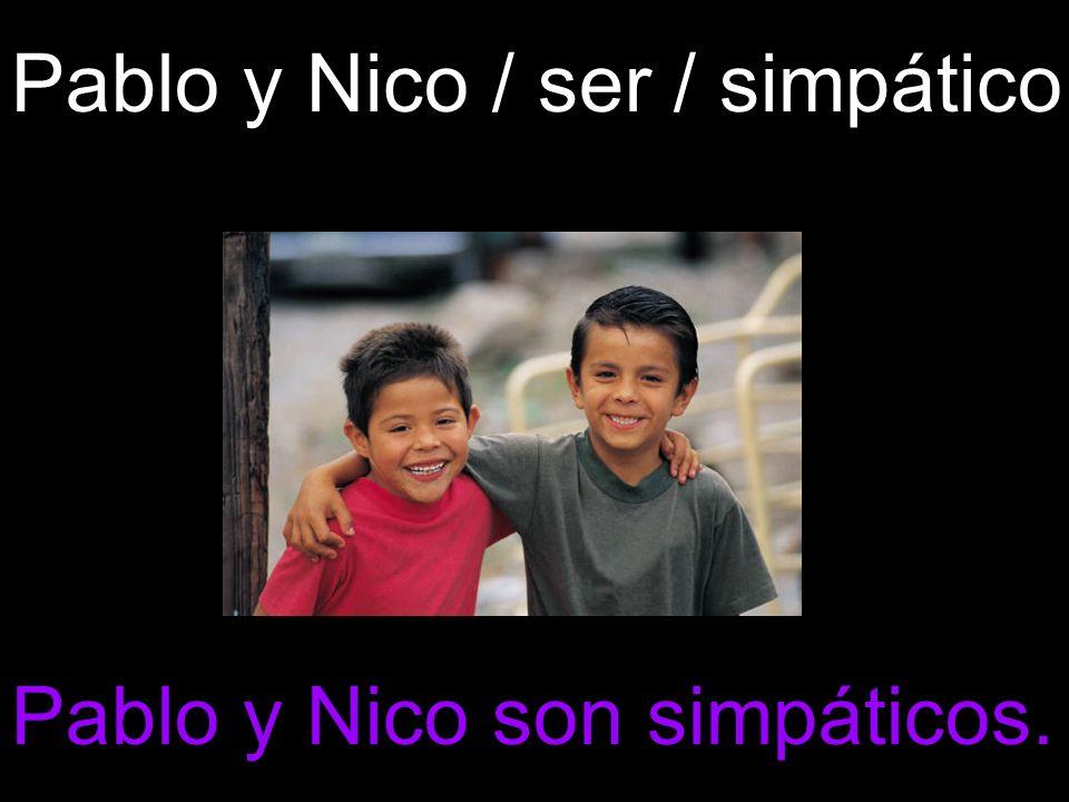 Pablo y Nico / ser / simpático Pablo y Nico son simpáticos.