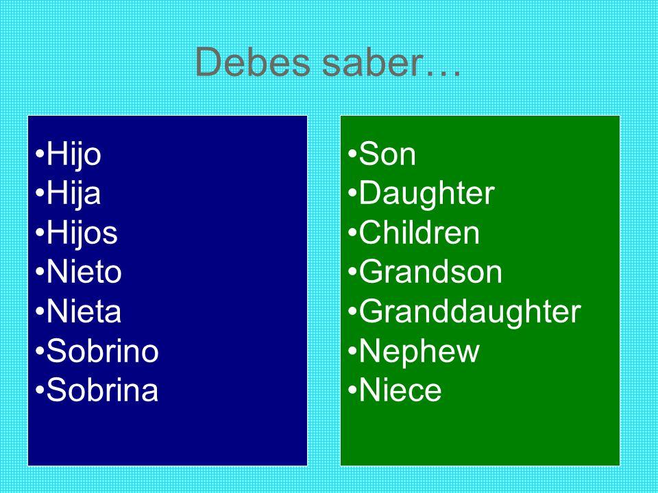 Debes saber… Hijo Hija Hijos Nieto Nieta Sobrino Sobrina Son Daughter Children Grandson Granddaughter Nephew Niece