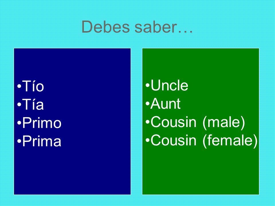 Debes saber… Tío Tía Primo Prima Uncle Aunt Cousin (male) Cousin (female)