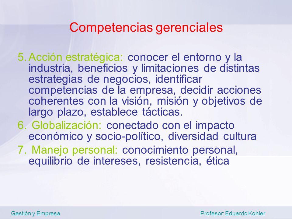Competencias gerenciales 5.Acción estratégica: conocer el entorno y la industria, beneficios y limitaciones de distintas estrategias de negocios, iden