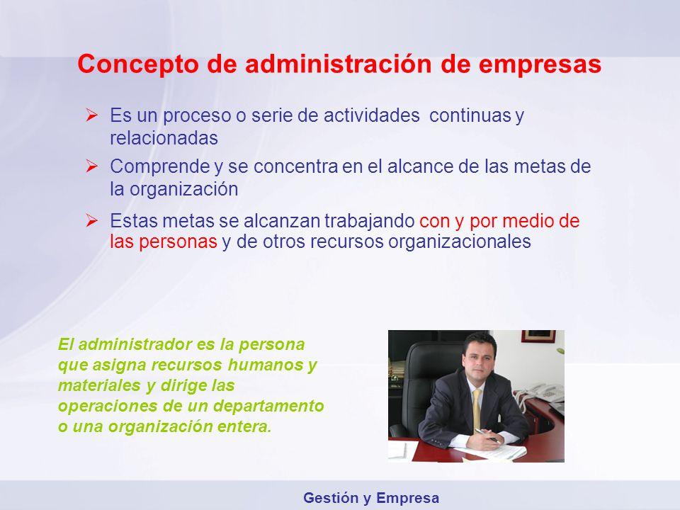 Concepto de administración de empresas Es un proceso o serie de actividades continuas y relacionadas Comprende y se concentra en el alcance de las met