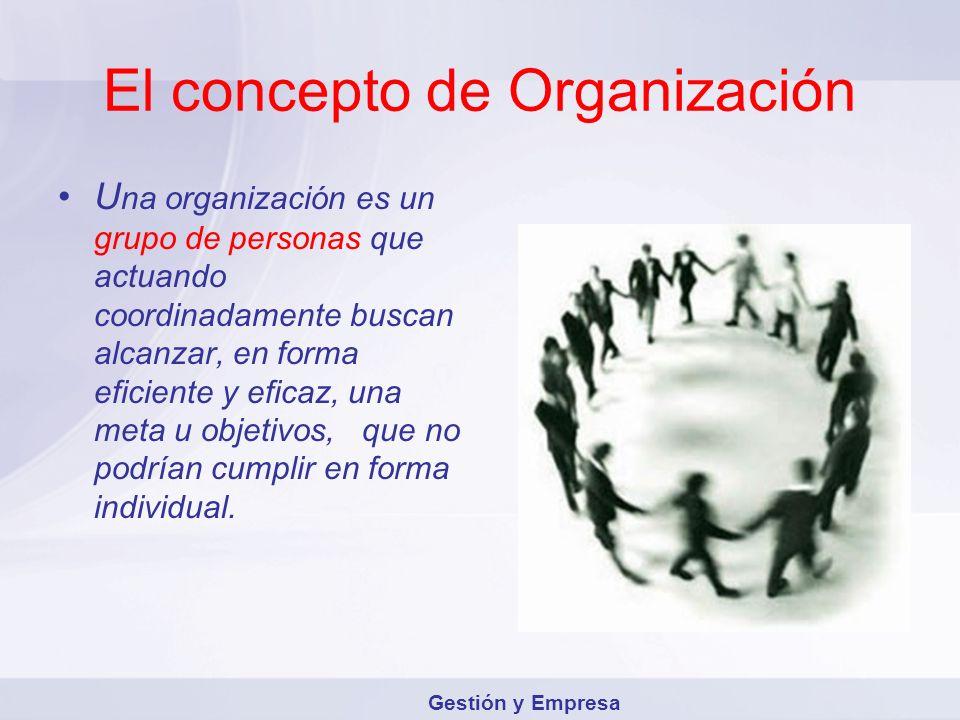 El concepto de Organización U na organización es un grupo de personas que actuando coordinadamente buscan alcanzar, en forma eficiente y eficaz, una m