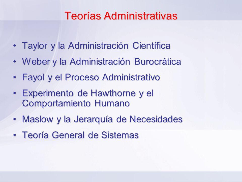 Teorías Administrativas Taylor y la Administración CientíficaTaylor y la Administración Científica Weber y la Administración BurocráticaWeber y la Adm
