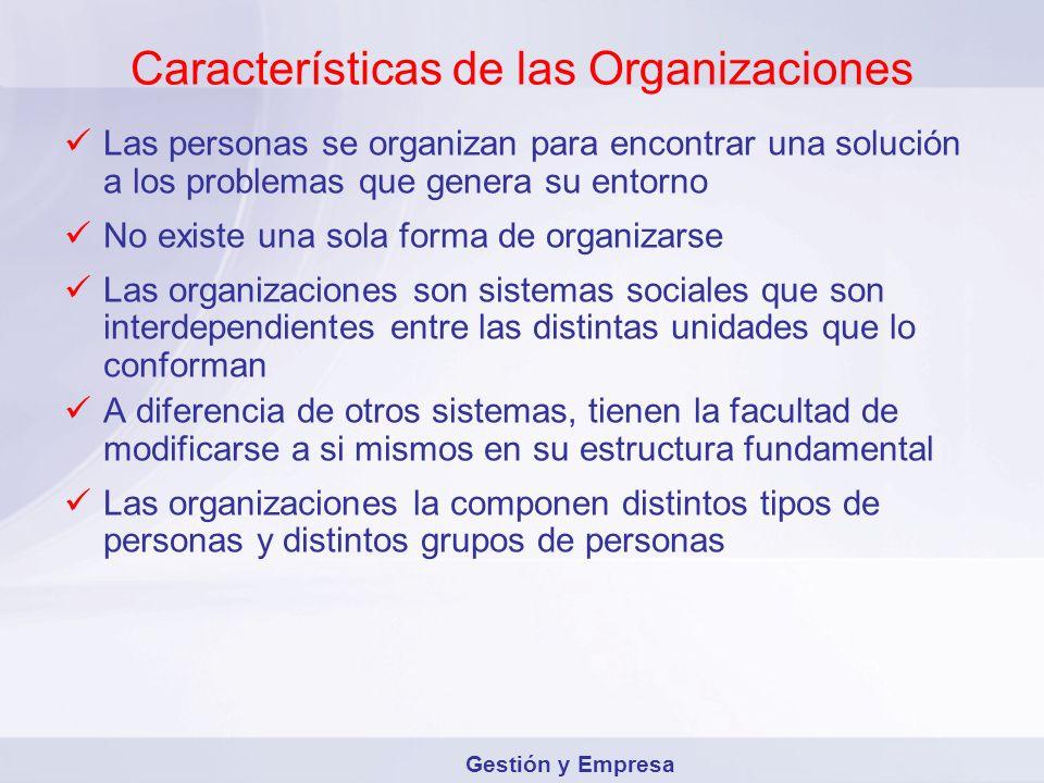 Características de las Organizaciones Las personas se organizan para encontrar una solución a los problemas que genera su entorno No existe una sola f