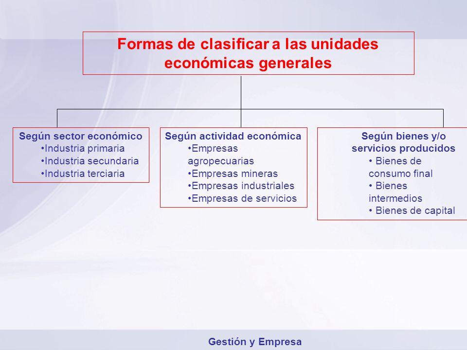 Formas de clasificar a las unidades económicas generales Según sector económico Industria primaria Industria secundaria Industria terciaria Según acti