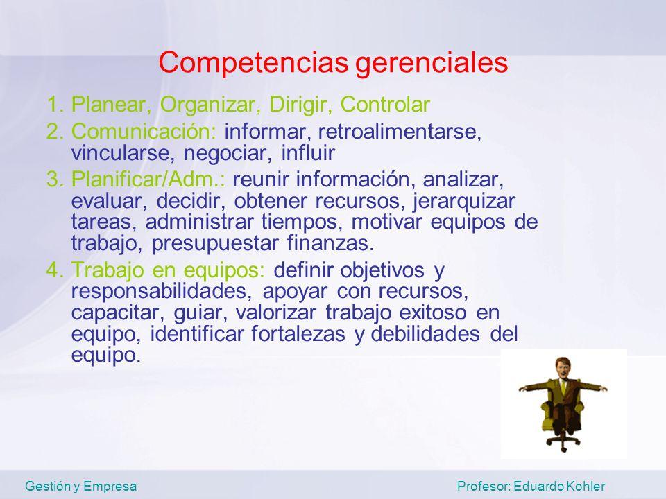 Competencias gerenciales 1.Planear, Organizar, Dirigir, Controlar 2.Comunicación: informar, retroalimentarse, vincularse, negociar, influir 3.Planific