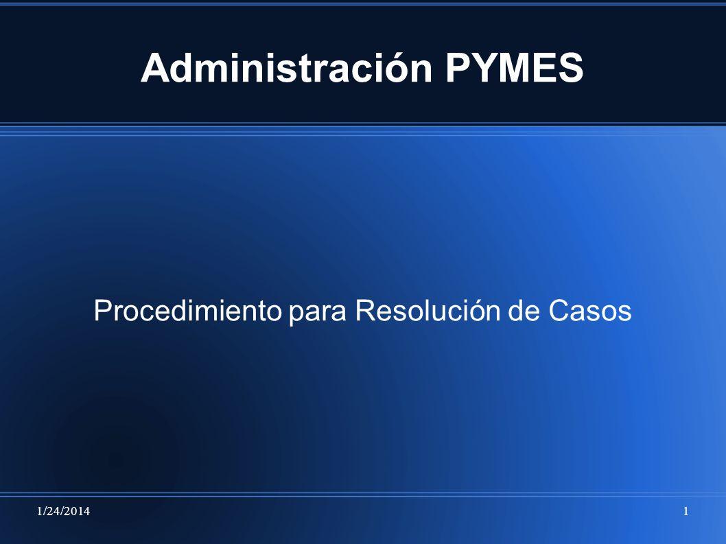 1/24/20141 Administración PYMES Procedimiento para Resolución de Casos
