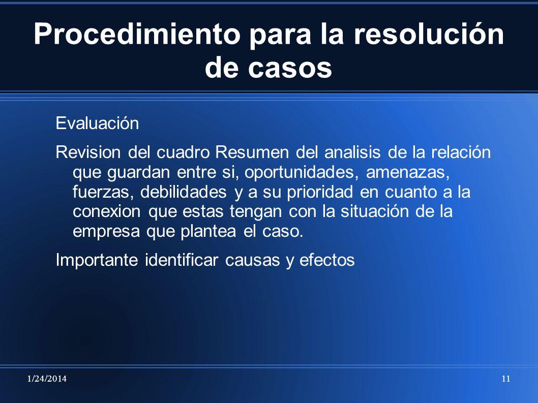 1/24/201411 Procedimiento para la resolución de casos Evaluación Revision del cuadro Resumen del analisis de la relación que guardan entre si, oportun