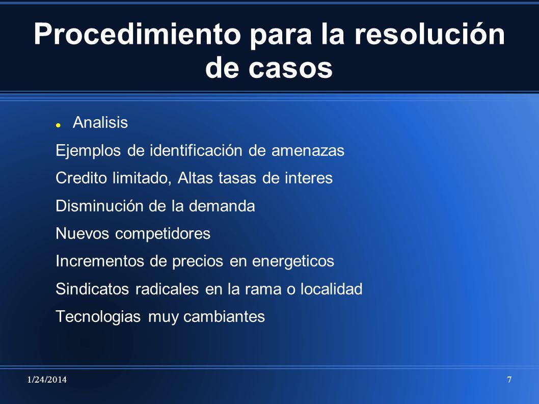 1/24/20147 Procedimiento para la resolución de casos Analisis Ejemplos de identificación de amenazas Credito limitado, Altas tasas de interes Disminuc