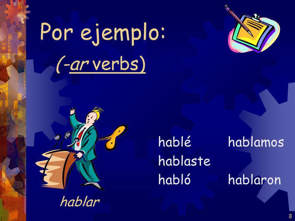 8 (-ar verbs) hablé hablaste habló hablamos hablaron Por ejemplo: hablar