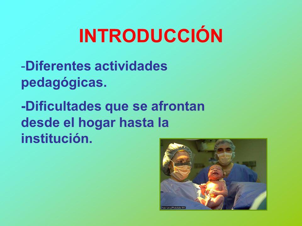 INTRODUCCIÓN -Diferentes actividades pedagógicas. -Dificultades que se afrontan desde el hogar hasta la institución.