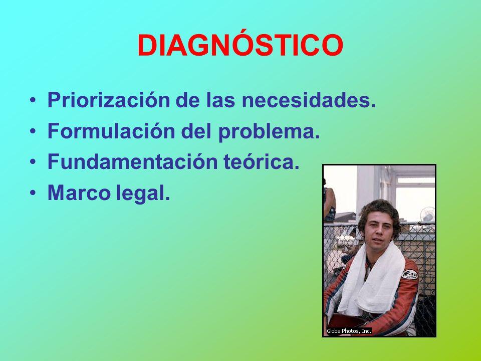 DIAGNÓSTICO Priorización de las necesidades. Formulación del problema. Fundamentación teórica. Marco legal.